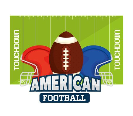 poster of american football with ball and helmets in field vector illustration design 일러스트