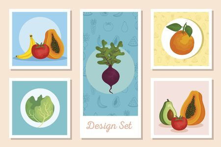set of designs fresh with vegetables and fruits vector illustration design