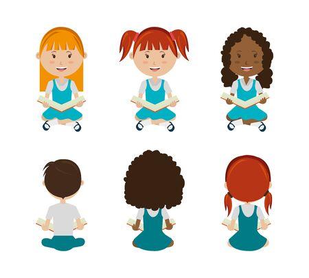 group of little students sitting characters vector illustration design 版權商用圖片 - 139216717