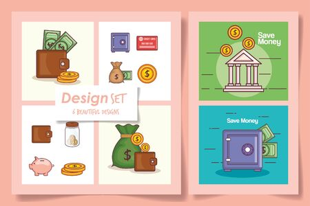 Six designs of money financial icons banking commerce market payment buy currency accounting and invest theme Vector illustration Stock Vector - 139212438