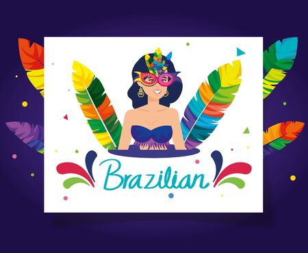 poster of brazilian carnival with exotic dancer woman and decoration vector illustration design  イラスト・ベクター素材