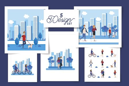 set five designs of young people in cityscape scenes vector illustration design