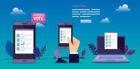poster of vote with hand and devices electronics vector illustration design 向量圖像