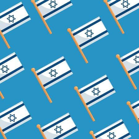 Fondo de banderas de Israel, diseño de ilustraciones vectoriales patrióticas