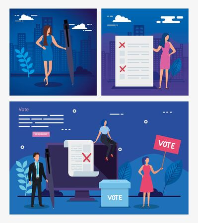 set poster vote with business people and icons vector illustration design