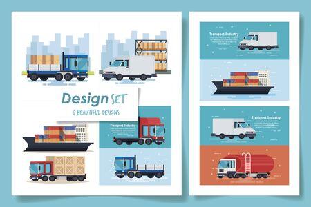 set six designs of transportation industrial vector illustration design