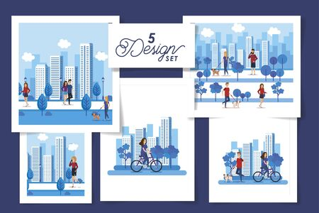 set five designs of young people with cityscapes vector illustration design