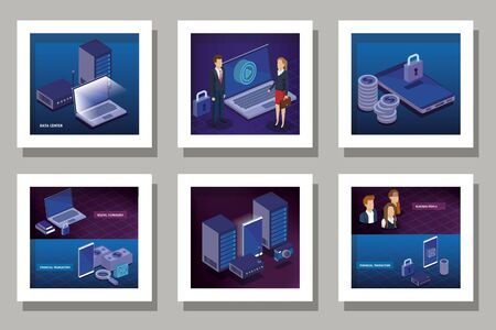 designs set of digital technology and business people vector illustration design Illustration
