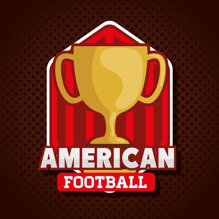 poster of american football with cup trophy vector illustration design