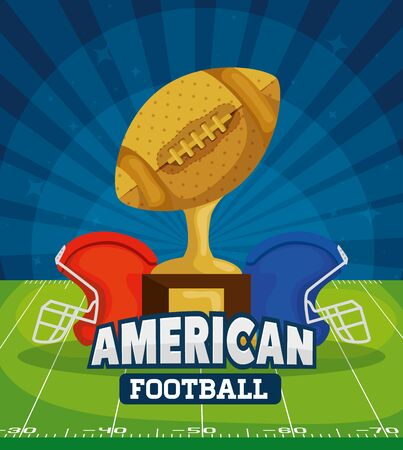 poster of american football with trophy in field vector illustration design