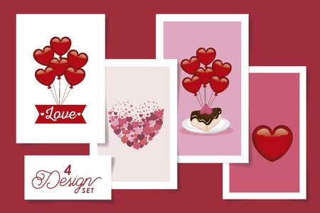 set four designs of love and decoration vector illustration design
