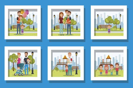 bundle of cute family in different places vector illustration design