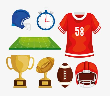 set icons of football american vector illustration design 일러스트