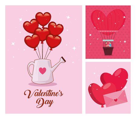 set of happy valentines day cards with decoration vector illustration design Foto de archivo - 139245663