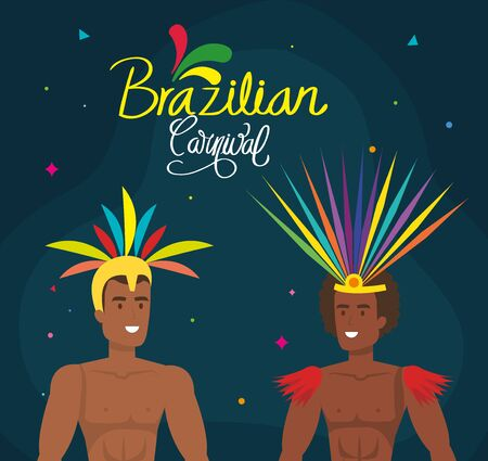 poster of brazilian carnival with dancer exotic men vector illustration design  イラスト・ベクター素材