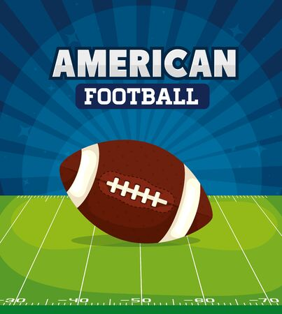 poster of american football with ball in field vector illustration design