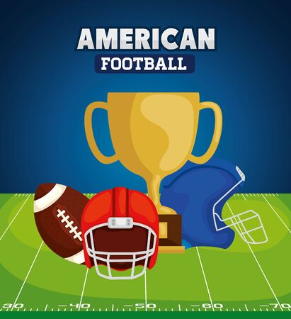 poster of american football with trophy and icons vector illustration design