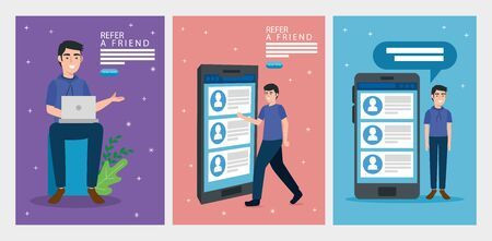 set poster of refer a friend with icons vector illustration design