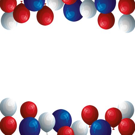 set balloons helium blue with white and red color vector illustration design  イラスト・ベクター素材