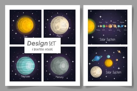 six designs of solar system vector illustration design