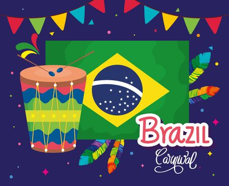 poster of brazil carnival with flag and icons traditional vector illustration design