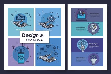 six designs of intelligence artificial and set icons vector illustration design Çizim