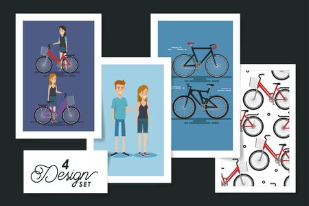 four designs of young people and bikes vector illustration design