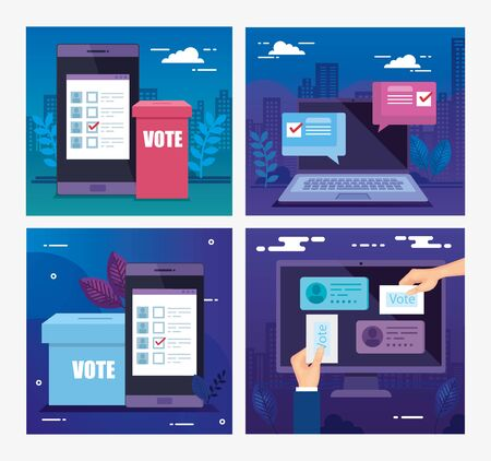 set poster of vote with icons vector illustration design