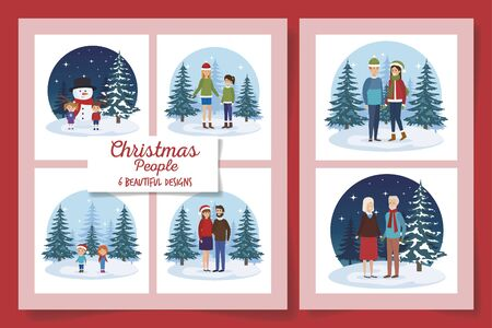 six designs of christmas people in the winter landscape vector illustration design  イラスト・ベクター素材