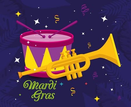 Mardi gras trumpet and drum design, Party carnival decoration celebration festival holiday fun new orleans and traditional theme Vector illustration