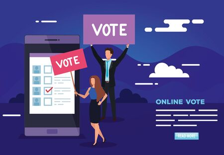 poster of vote online with smartphone and business people vector illustration design