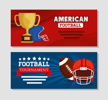 set poster of american football with icons vector illustration design 일러스트
