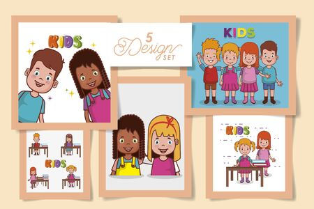 Five designs, Kid childhood little people lifestyle casual person cheerful and cute theme Vector illustration