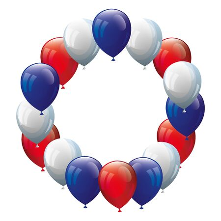 frame circular of balloons helium white with red and blue vector illustration design  イラスト・ベクター素材