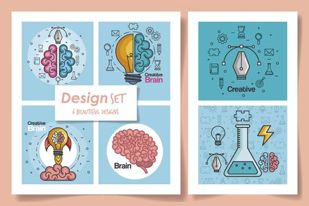 six designs of brainstorming and icons vector illustration design