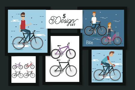 five designs of young people and bikes vector illustration design
