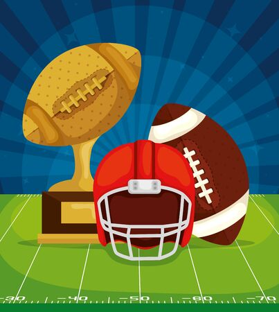 poster of trophy with ball and helmet in football field american vector illustration design