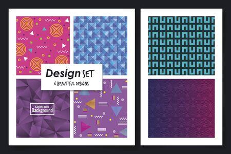 six designs of geometric backgrounds vector illustration design