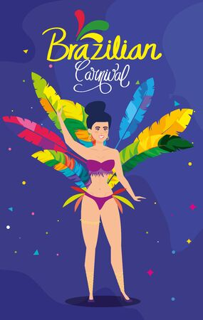poster of carnival brazilian with exotic dancer woman vector illustration design