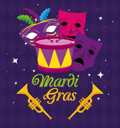Mardi gras masks trumpets and drum design, Party carnival decoration celebration festival holiday fun new orleans and traditional theme Vector illustration  イラスト・ベクター素材