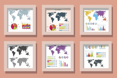 bundle designs of world infographic and icons vector illustration design