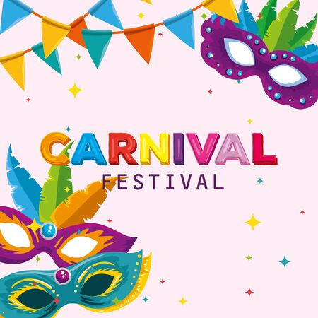 festival maks with feathers decoration and party banner vector illustration Ilustracja