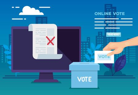 poster of vote online with computer and icons vector illustration design