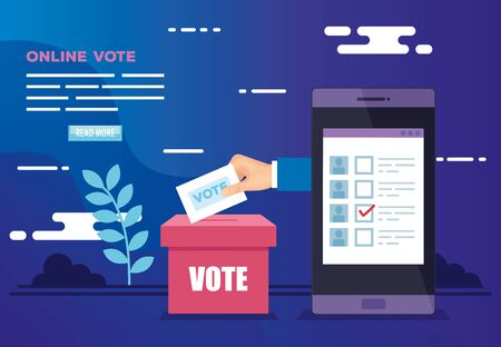 poster of vote online with smartphone and icons vector illustration design