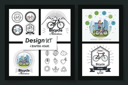 six designs of young people scenes and bikes vector illustration design Illustration