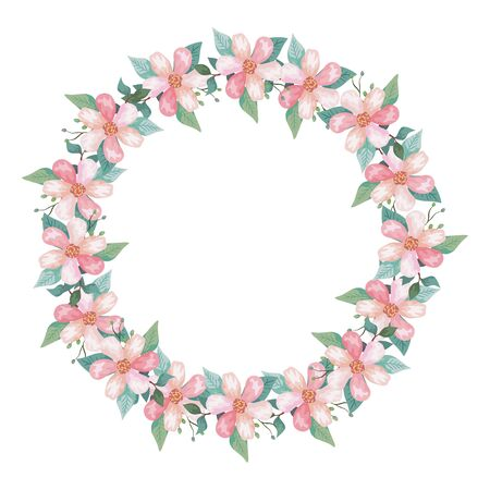 frame circular of flowers and leafs isolated icon vector illustration design 일러스트