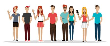 group people punk style avatar character vector illustration design