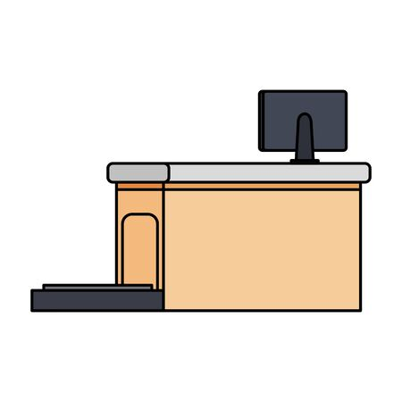 airport checkin place with balance and computer vector illustration design