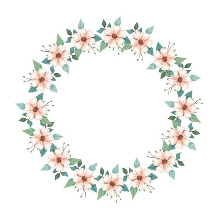 frame circular of flowers and leafs isolated icon vector illustration design  イラスト・ベクター素材