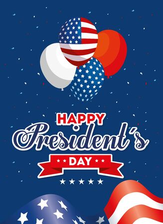 Balloons and flag design, Usa happy presidents day united states america independence nation us country and national theme Vector illustration  イラスト・ベクター素材